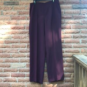Long wide leg maroon dress pants